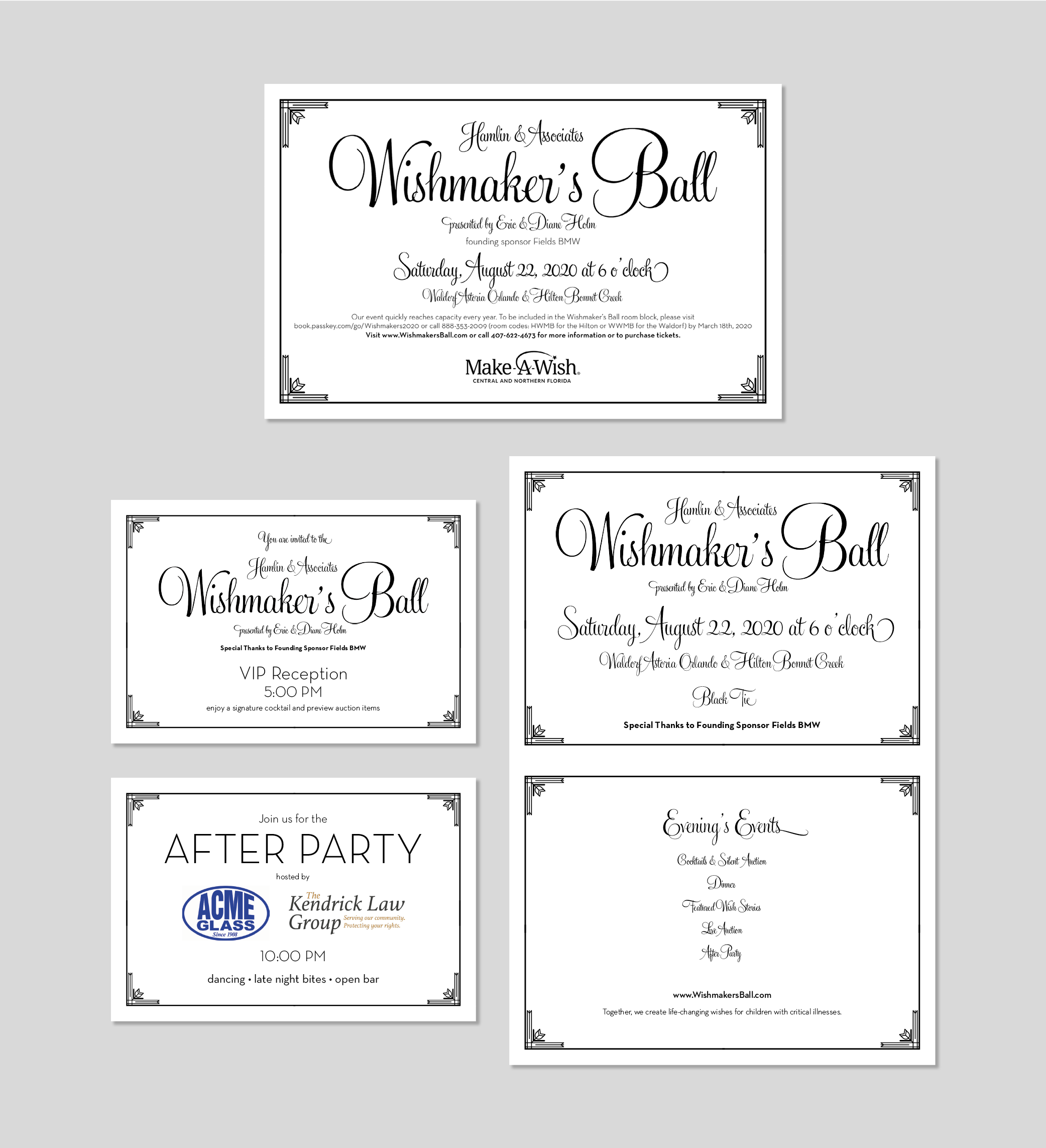 Invitation Suite for the Wishmaker's Ball which benefits Make A Wish of Central & Northern Florida